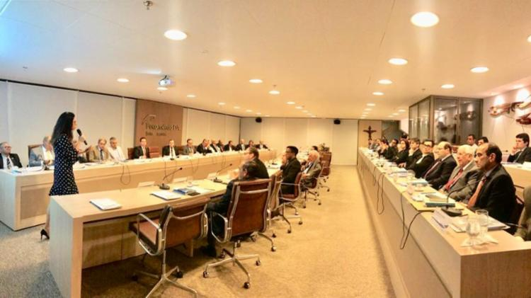 A diretora de Conformidade da Odebrecht S.A., Olga Pontes, durante palestra na Fecomércio-BA - Foto: Divulgação