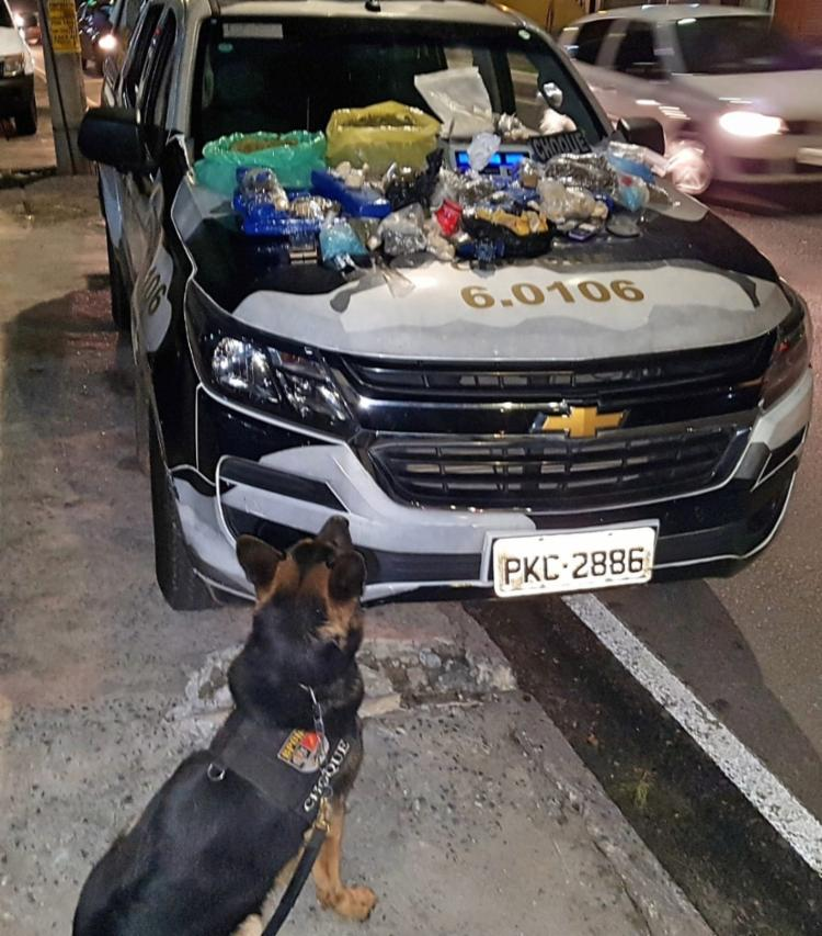 Cão encontrou o material em um armário dentro de uma casa na rua das Bananeiras - Foto: Divulgação | SSP-BA