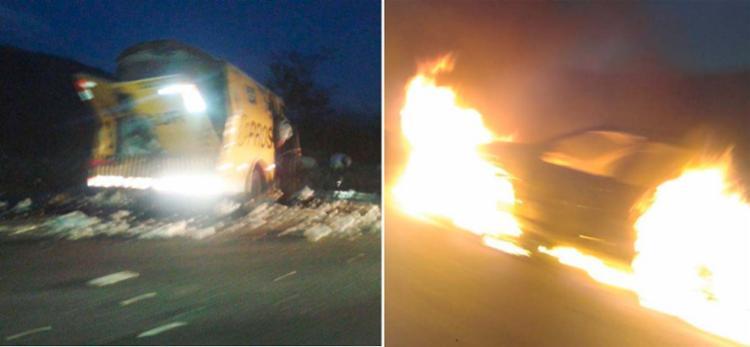 Durante ataque ao carro-forte, criminosos incendiaram um veículo de passeio - Foto: Reprodução | Blog do Jeferson Almeida