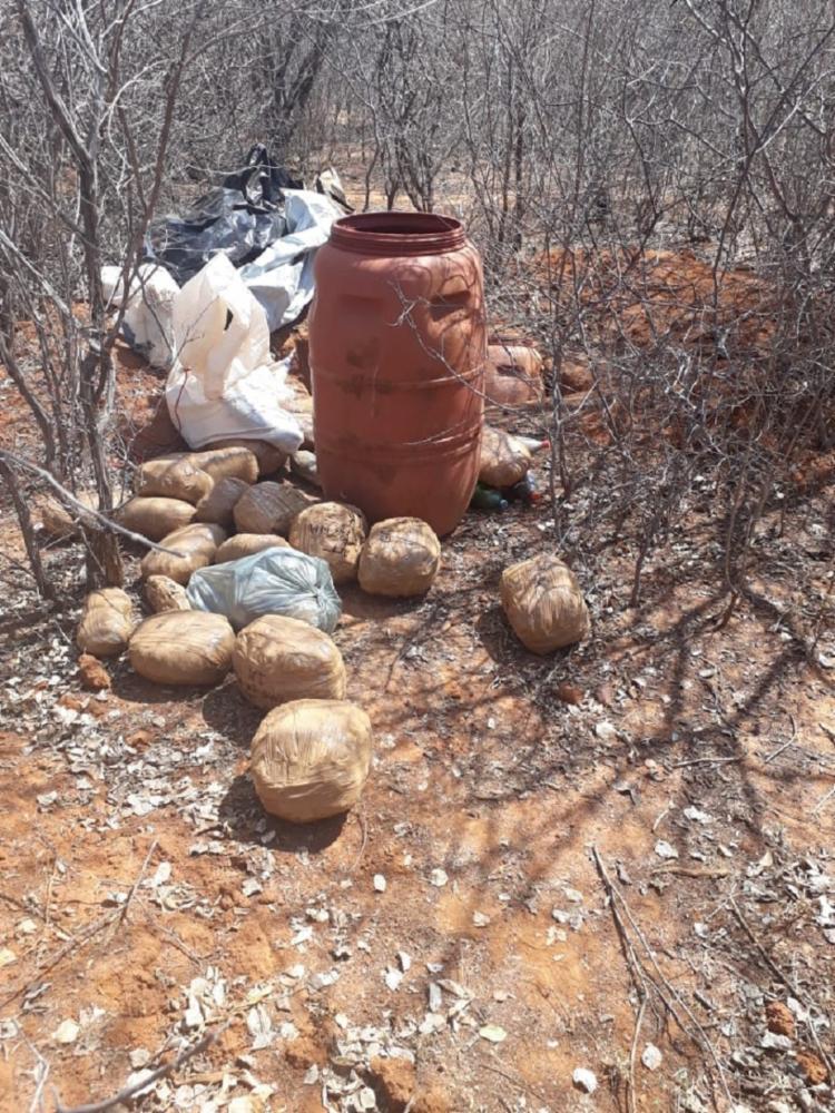 Na residência foi apreendida uma arma de fogo e dois tonéis com resíduos de maconha - Foto: Divulgação | PC
