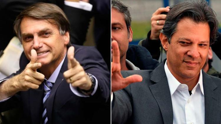 Candidato do PSL à Presidência continua na liderança; petista cresceu três pontos - Foto: Agência Brasil e AFP