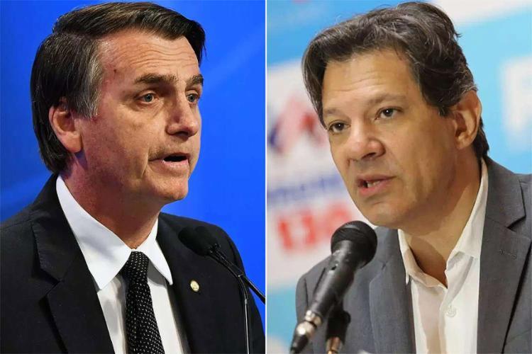 Jair Bolsonaro (PSL) e Fernando Haddad (PT) continuam liderando a disputa presidencial - Foto: Reprodução l RedeTV!