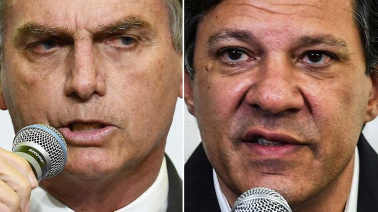 Bolsonaro deu uma entrevista para uma rádio de Pernambuco; já Haddad mantém foco no Sudeste - Foto: Evaristo Sá, Nelson Almeida e| Mauro Pimentel | AFP