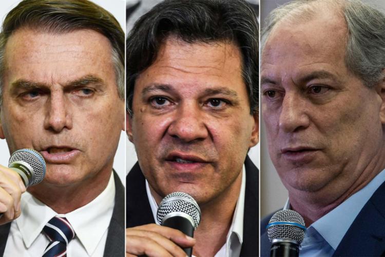 Bolsonaro, Haddad e Ciro se destacam em nova pesquisa eleitoral - Foto: Evaristo Sá, Nelson Almeida e| Mauro Pimentel | AFP