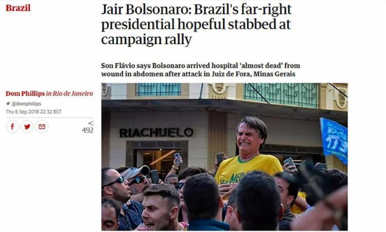 Diversos jornais internacionais noticiaram a agressão ao presidenciável do PSL em seus sites - Foto: Reprodução l The Guardian