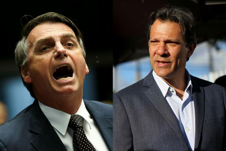 A possibilidade de um segundo turno entre Jair Bolsonaro e Fernando Haddad gera preocupação - Foto: Marcelo Camargo | Agência Brasil e Heuler Andrey | AFP