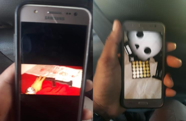 No celular de um deles, foram encontradas fotos de uma metralhadora e munições