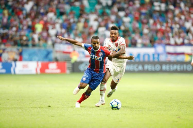 Bahia enfrentou o Flamengo na Arena Fonte Nova neste sábado - Foto: Margarida Neide | Ag. A TARDE