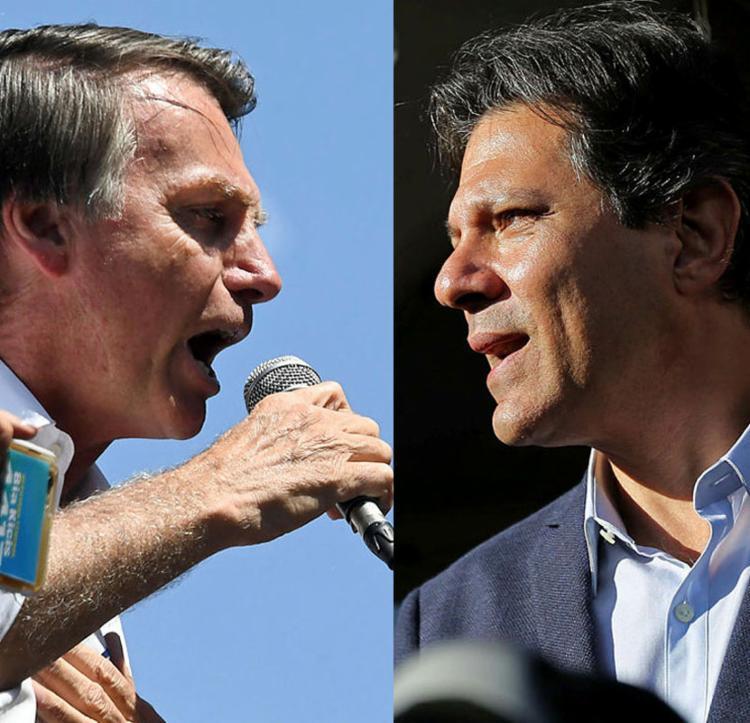 Bolsonaro e Fernando Haddad, as faces do duelo final - Foto: Evaristo Sa   AFP e Heuler Andrey   AFP