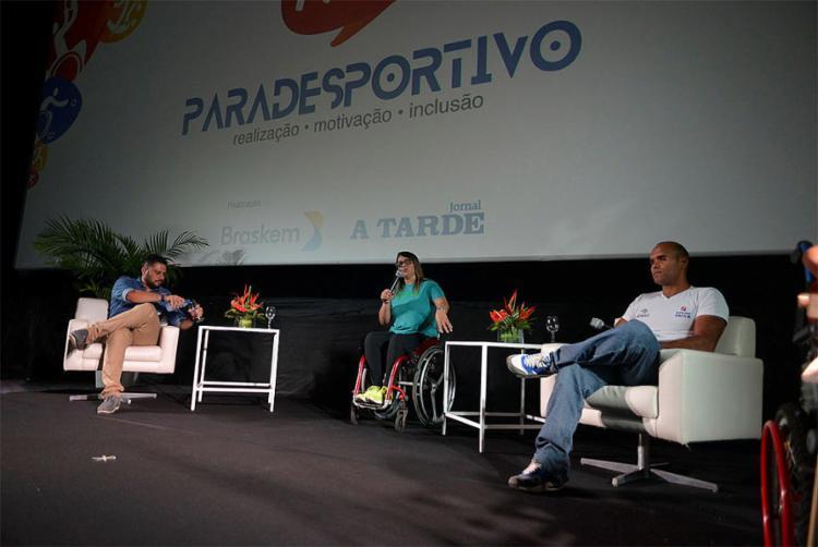 Mediador Darino Sena e paratletas Verônica Almeida e Daniel Mendes - Foto: Shirley Stolze l Ag. A TARDE