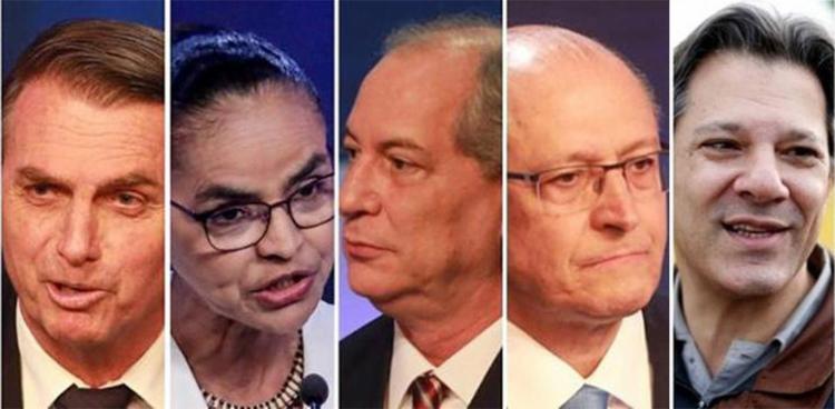 Candidato do PSL cresce 4 pontos porcentuais; Ciro (PDT), Marina (Rede), Alckmin (PSDB) e Haddad (PT) estão tecnicamente empatados - Foto: Reprodução l Uol