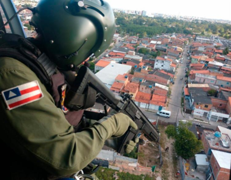 Ação contou com um helicóptero da PM - Foto: Divulgação   SSP-BA