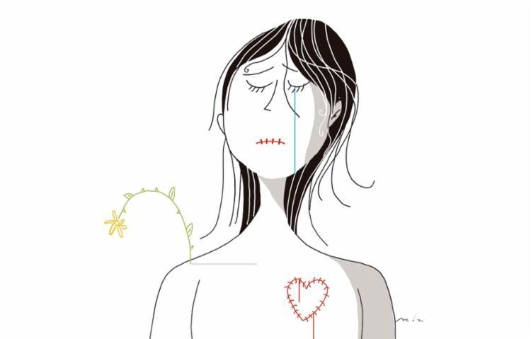 """""""Estou me sentindo um lixo, queria entender por que tenho que passar por isso"""", diz uma menina num grupo no WhatsApp. Ilustração: Bruno Aziz"""