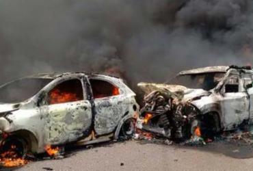Engavetamento com veículos queimados deixa feridos na BA-263 | Reprodução | Site Blog do Anderson