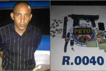 Dupla é flagrada com submetralhadora de uso restrito em São Rafael | Divulgação | SSP-BA