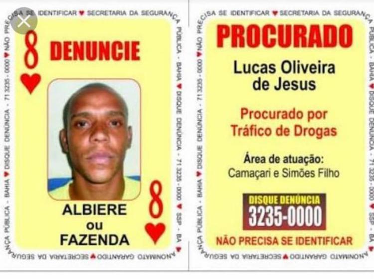Albiere era procurado por tráfico de drogas e também tinha envolvimento com homicídios e roubos - Foto: Divulgação | SSP