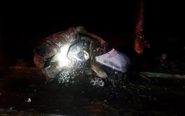 O carro, que ficou destruído, foi levado ao pátio da Polícia Civil - Foto: Divulgação | PRF-BA