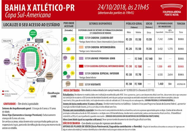 Confira a tabela com locais e valores da Arena Fonte Nova para o jogo desta quarta