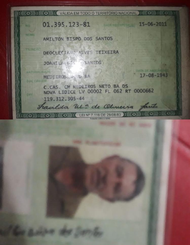 Amilton Bispo dos Santos, 75 anos, foi atingido por três tiros