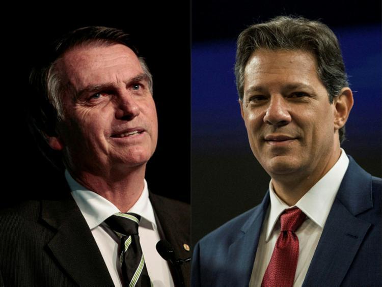 Na pesquisa espontânea, Bolsonaro também lidera: ele tem 45,8% da preferência e Haddad tem outros 33,3% - Foto: AFP