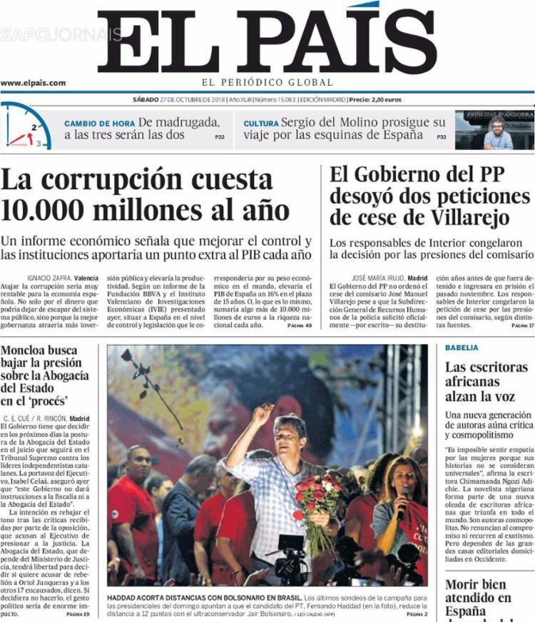 El Pais destaca a redução da distância entre Jair Bolsonaro (PSL) e Fernando Haddad, - Foto: Reprodução