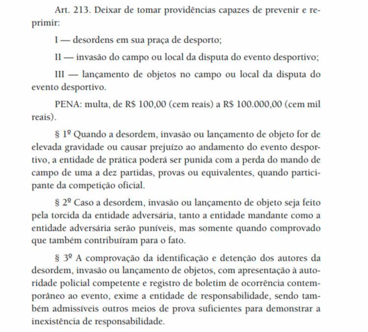 Veja o Art. 213 do Código Brasileiro de Justiça Desportiva
