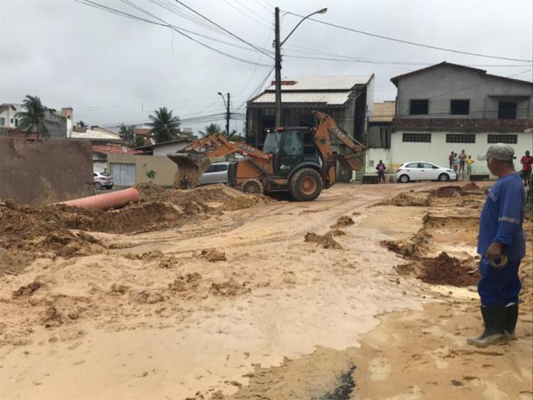 Barro se espalhou pelas vias da cidade após as chuvas do fim de semana - Foto: Divulgação | Prefeitura de Alagoinhas