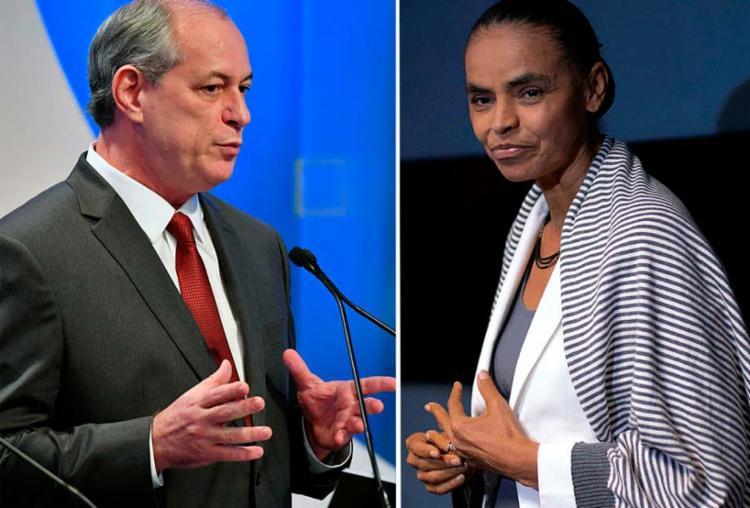 Apoio formal de Marina a Ciro dependeria de adaptações no programa de governo do candidato - Foto: Nelson Almeida e Mauro Pimentel | AFP