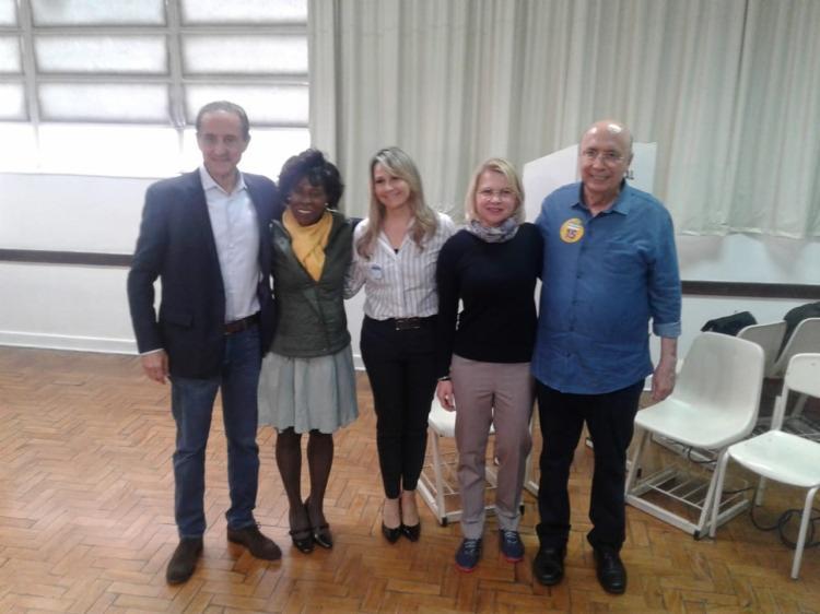 Candidato chegou ao colégio Rio Branco acompanhado pela esposa e por Paulo Skaf, candidato ao governo de São Paulo - Foto: Divulgação