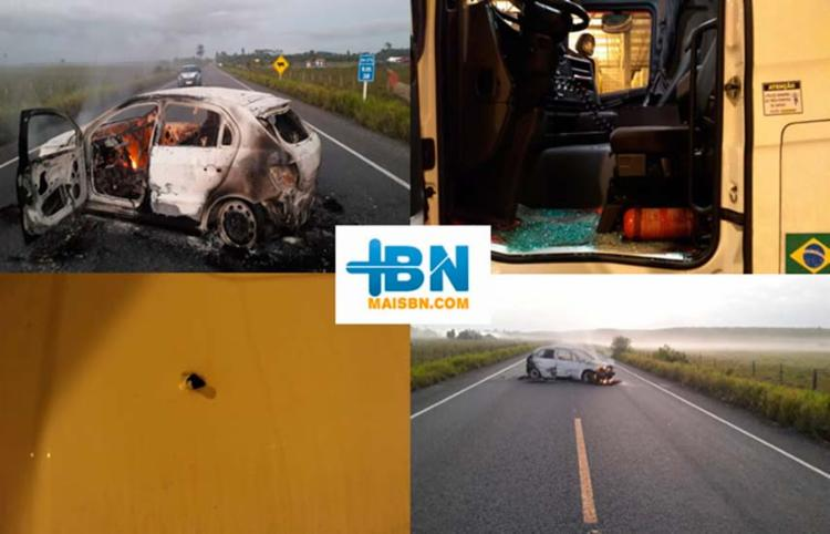 Carro foi incendiado e um motorista de carreta feito refém