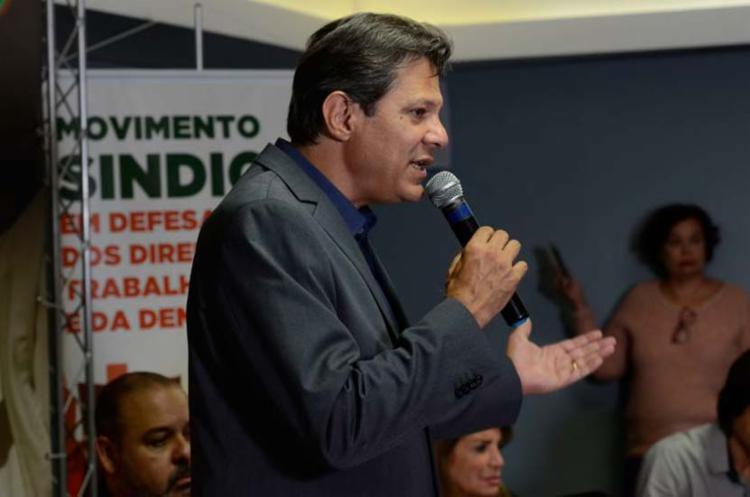 O candidato à Presidência da República, Fernando Haddad, discursou nesta quinta - Foto: Rovena Rosa | Agência Brasil