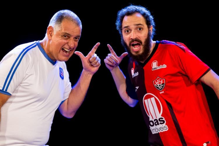 Montagem traz pai e filho em diversas situações, incluindo a rivalidade no futebol - Foto: Diney Araújo | Divulgação