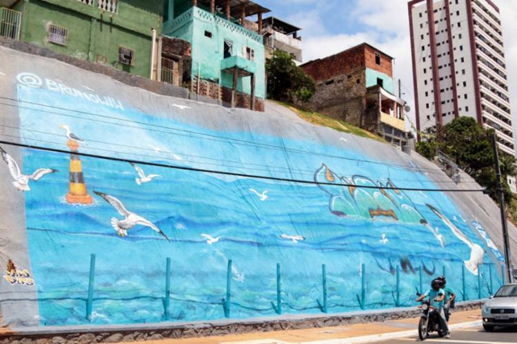 A grafitagem foi realizada pelo artista Bruno Wiw, que destacou a liberdade e a natureza - Foto: Divulgação   Prefeitura de Salvador