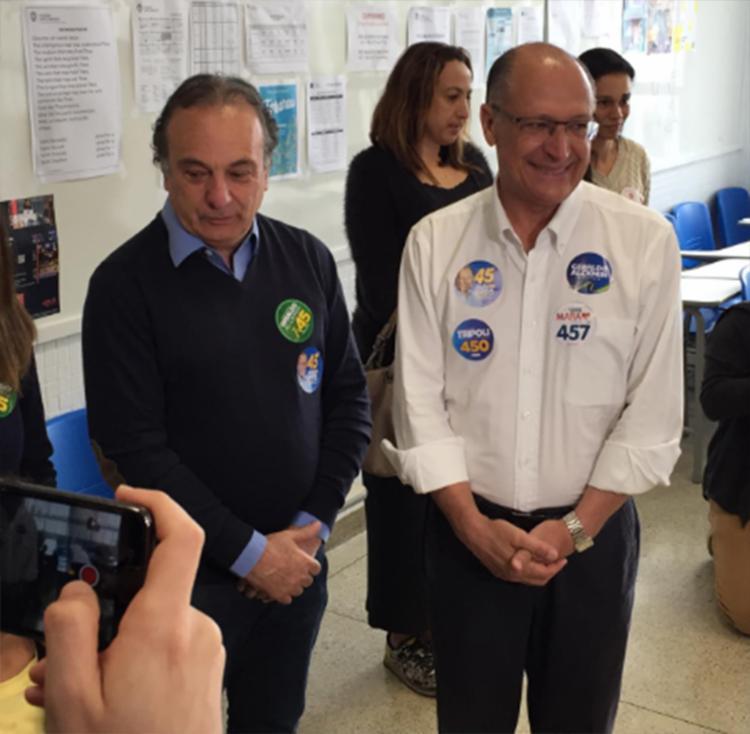 Presidenciável chegou acompanhado pelo candidato a deputado federal Ricardo Trípoli - Foto: Amanda Silva | A TARDE SP