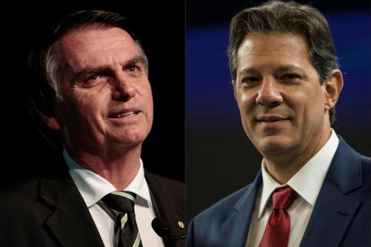 Haddad deve retornar hoje para São Paulo e Bolsonaro deve passar o dia em casa - Foto: AFP