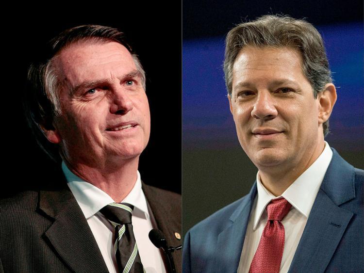 Jair Bolsonaro (PSL) e Fernando Haddad (PT) disputam o segundo turno - Foto: Miguel Schincariol e Daniel Ramalho l AFP