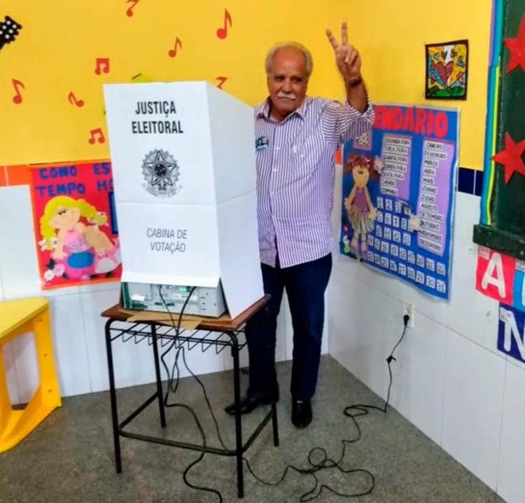 João Santana votou no Escolinha Saci, do município de Irará - Foto: Igor Andrade | Ag. A TARDE