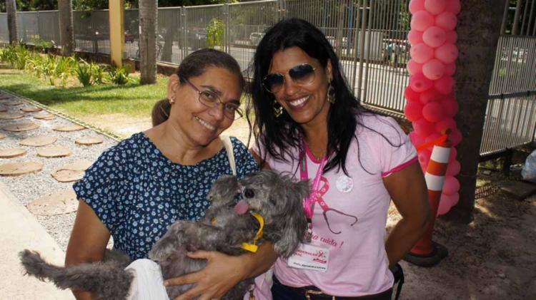 A médica especialista Alessandra Estrela (de rosa à dir.) já atendeu diversos casos de câncer de mama em animais