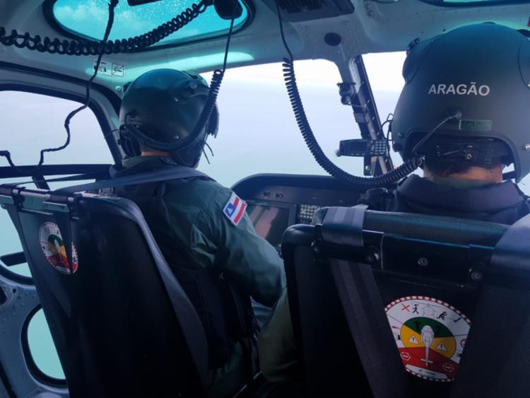 Agentes do Graer conseguiram localizar os pescadores após sobrevoarem a área