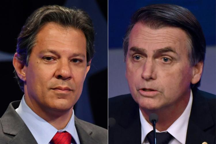 Bolsonaro e Haddad iniciaram nesta sexta, 12, a campanha do 2º turno na rádio e na TV - Foto: Miguel Schincariol e Daniel Ramalho | AFP