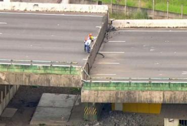 Viaduto na Marginal Pinheiros cede e via expressa é interditada | Reprodução | TV Globo
