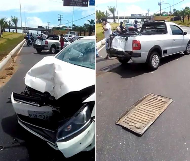 Veículo com os suspeitos colidiu com outros três na avenida Paralela - Foto: Cidadão Repórter