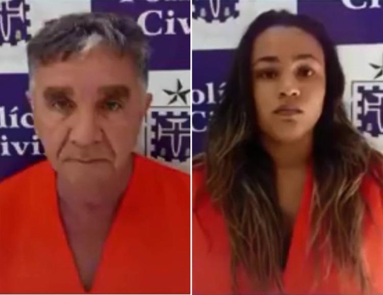 Haroldo Alves, 62 , e Atalaia Hadassa, 21 , foram flagrados tentando aplicar golpe em um banco no município de Itabela - Foto: Divulgação