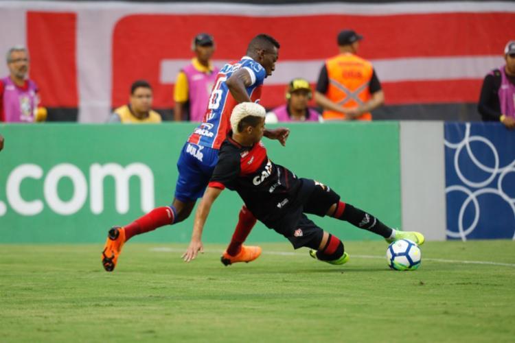 Sem ganhar há quatro jogos, o Vitória se manteve em 17.º lugar, com 35 pontos - Foto: Tiago Caldas | Ag. A TARDE