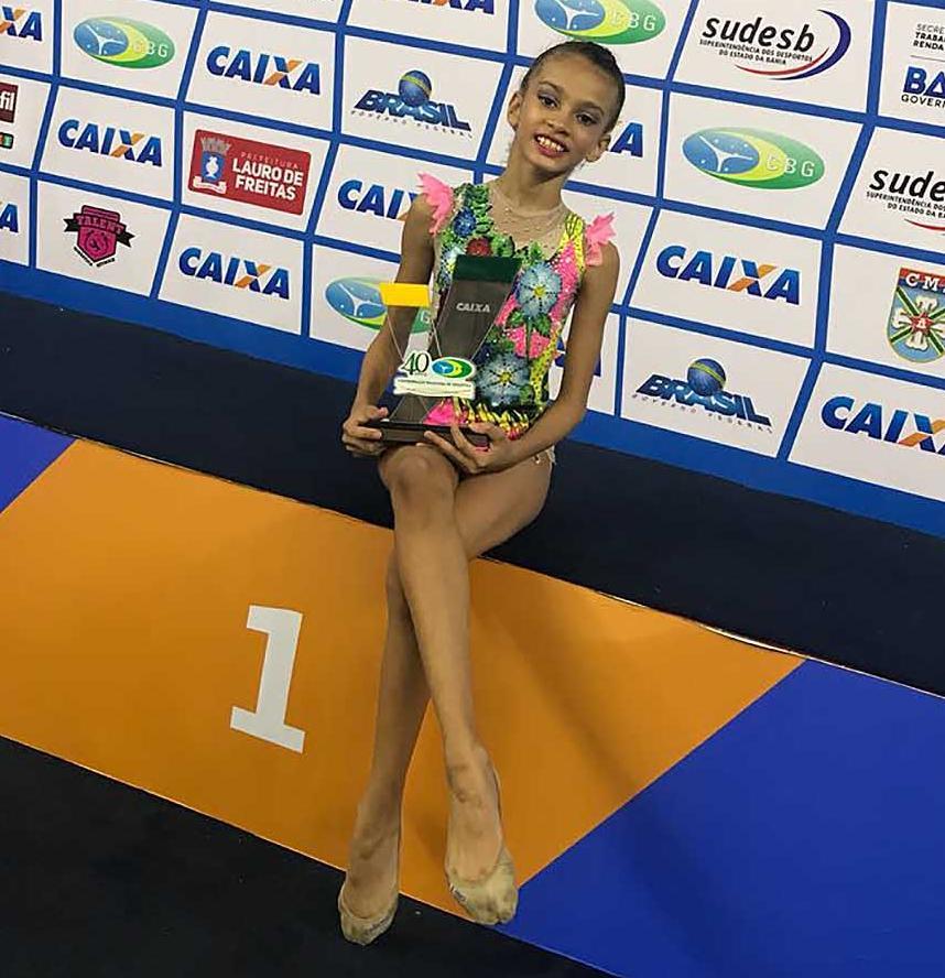 A ginasta baiana Keila Santos, 10 anos, subiu ao pódio com a conquista do primeiro lugar na categoria pré-infantil