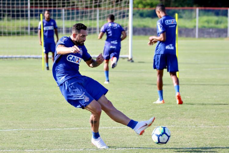 Atacante treinou ontem, mas não deve ser liberado para o Ba-Vi - Foto: Felipe Oliveira l EC Bahia