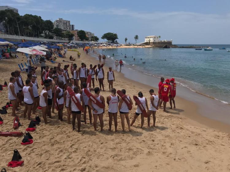 O treinamento foi realizado na praia do Porto da Barra nesta terça-feira, 20 - Foto: Divulgação | SSP-BA