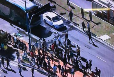 Manifestação deixou trânsito lento na Avenida ACM | Reprodução