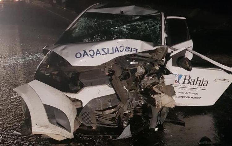 O motorista tentou desviar de um animal na pista e acabou se chocando com o outro na contramão. - Foto: PRF | Divulgação