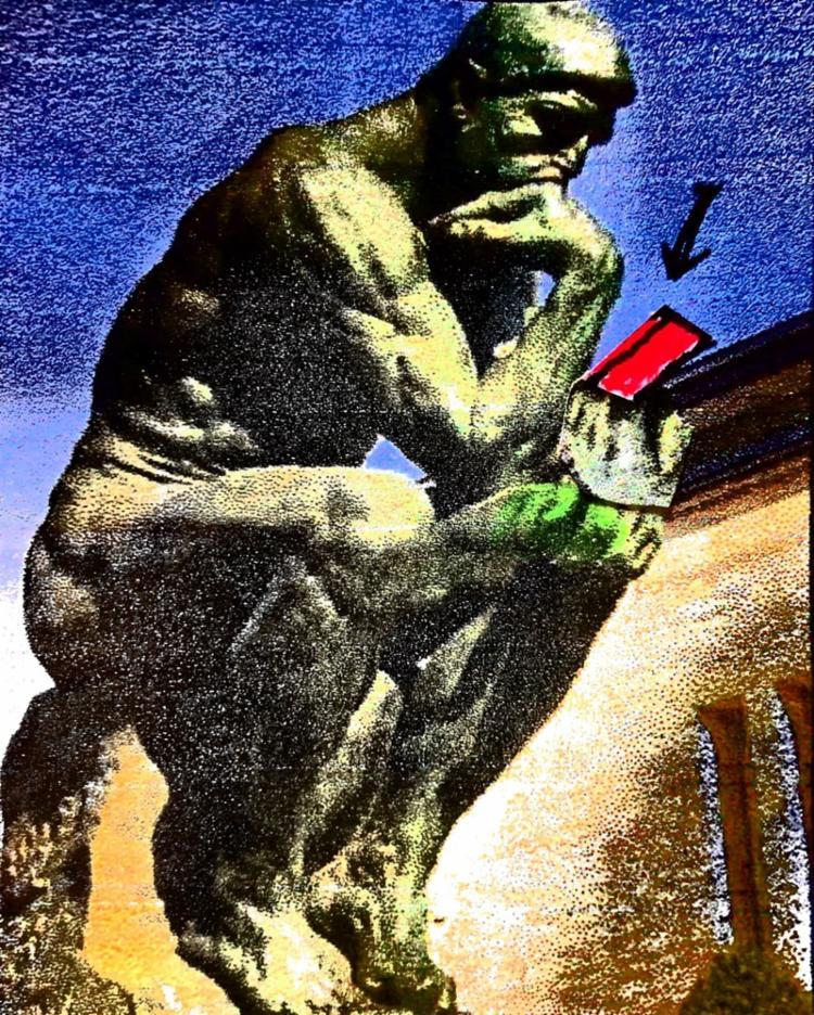 O Pensador é obra de maturidade, datada de 1902, quando Rodin tinha 62 anos - Foto: Ilustração